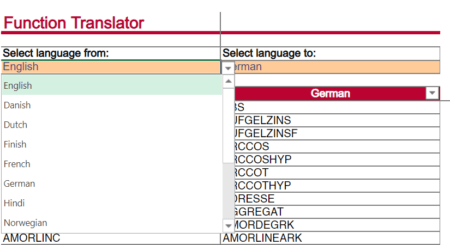 """Function Dictionary: Select your """"from"""" and """"to"""" languages."""